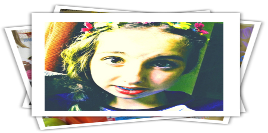 Image of Mya Kidson, 14 year old girl with flowers in her hair.