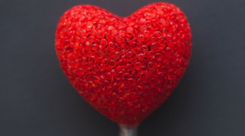 Image of a heart textured glass heart on lolly pop stick