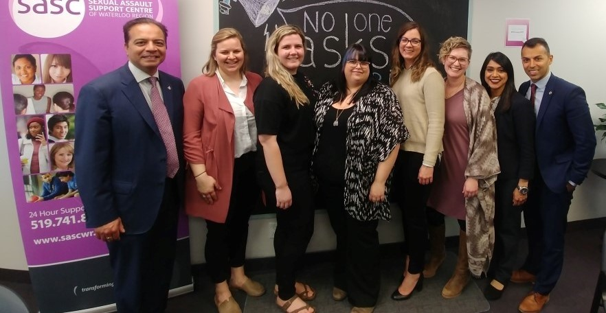 YWCA KW and YWCA Cambridge staff along with the Region's MPs on the day the Status of Women funding was announced at the Sexual Assault Support Centre (SASC) in Kitchener in April.