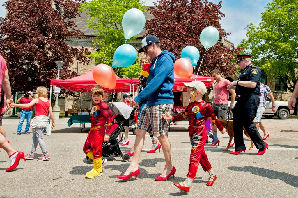 Family of fundraisers at Walk A Mile In Her Shoes 2019