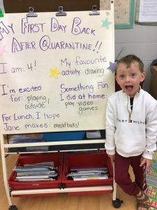A boy stands, mouth agape, beside a chart paper with his questions about being back at child care