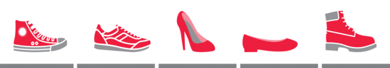 Red shoes of all kinds are welcome at Walk A Mile In Her Shoes