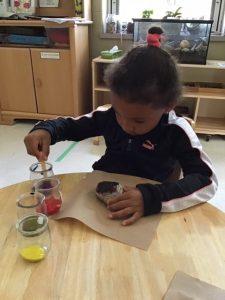 A child paints a rock