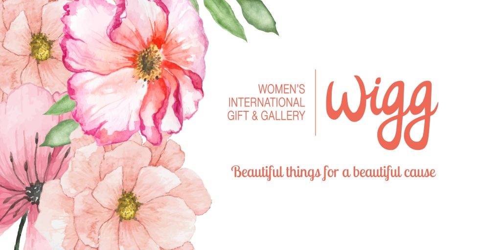 """Water colour flowers along left side. Wigg logo to the right and under it, the tagline, """"beautiful things for a beautiful cause"""" Background is white."""