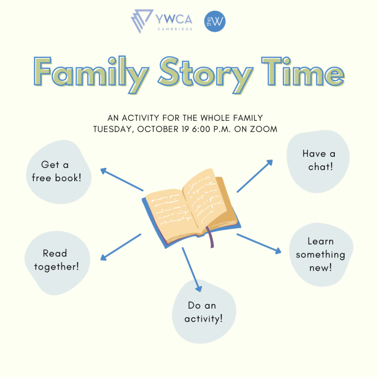 Family Story Time graphic with blank book on white background